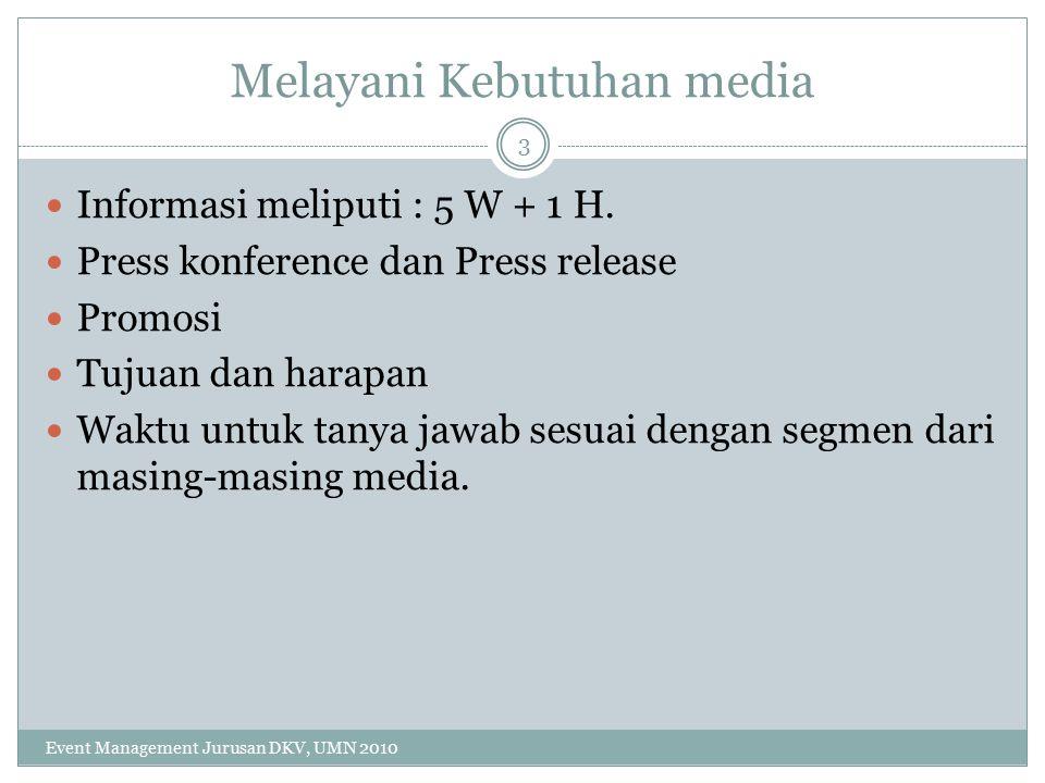 Melayani Kebutuhan media Informasi meliputi : 5 W + 1 H.