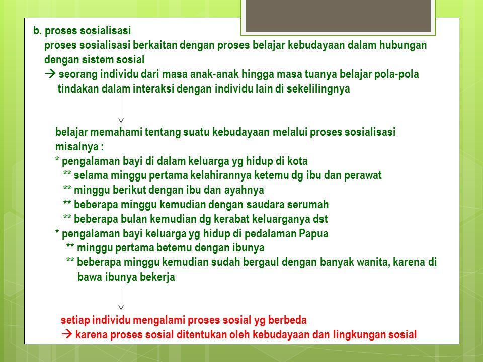 b. proses sosialisasi proses sosialisasi berkaitan dengan proses belajar kebudayaan dalam hubungan dengan sistem sosial  seorang individu dari masa a