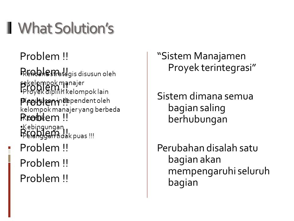 What Solution's Problem !.