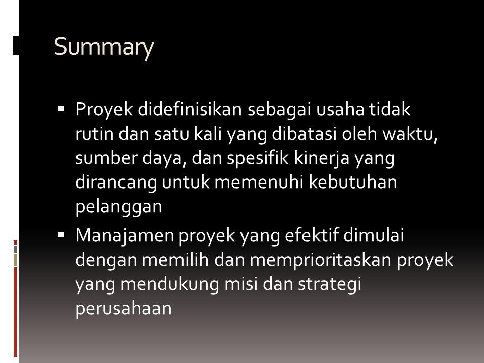 Summary PProyek didefinisikan sebagai usaha tidak rutin dan satu kali yang dibatasi oleh waktu, sumber daya, dan spesifik kinerja yang dirancang untuk memenuhi kebutuhan pelanggan MManajamen proyek yang efektif dimulai dengan memilih dan memprioritaskan proyek yang mendukung misi dan strategi perusahaan