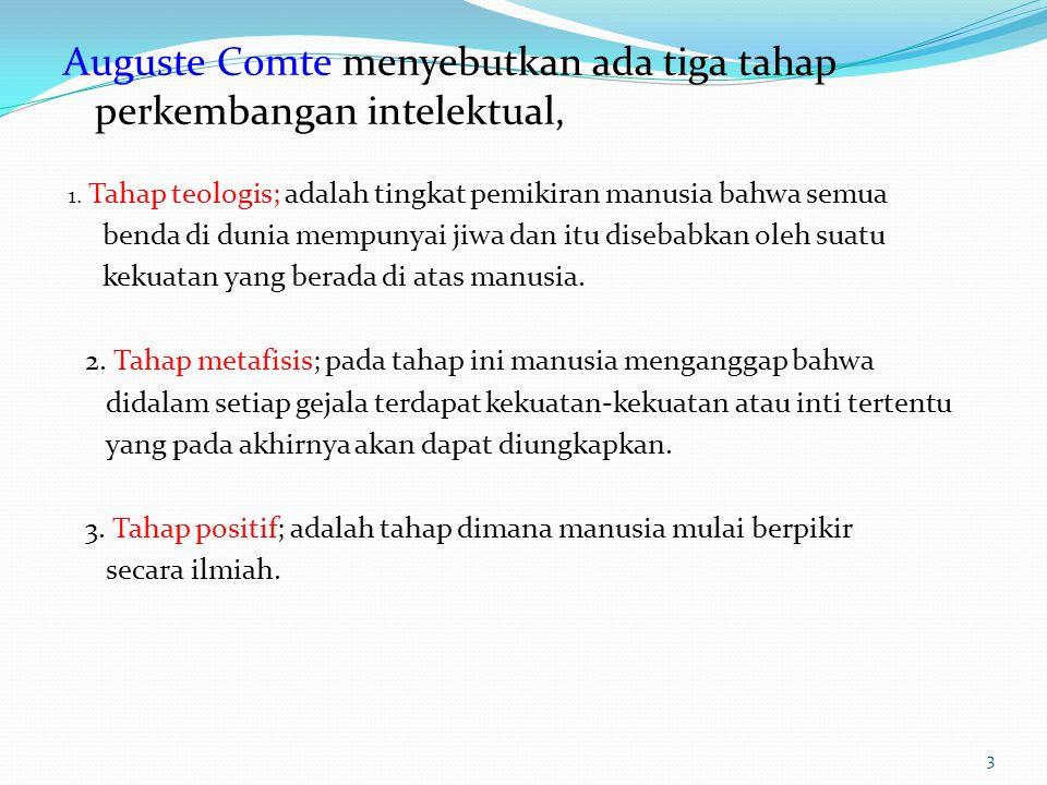 Auguste Comte menyebutkan ada tiga tahap perkembangan intelektual, 1.
