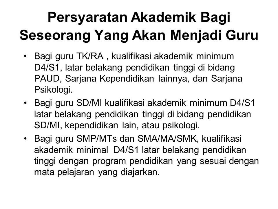 Persyaratan Akademik Bagi Seseorang Yang Akan Menjadi Guru Bagi guru TK/RA, kualifikasi akademik minimum D4/S1, latar belakang pendidikan tinggi di bi
