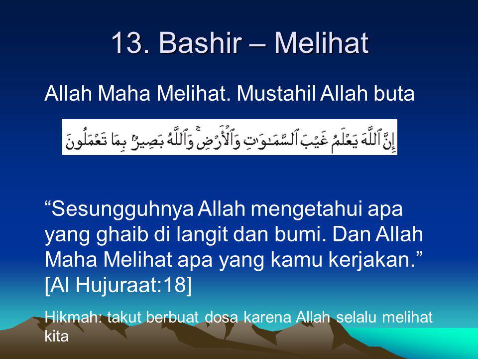 """13. Bashir – Melihat Allah Maha Melihat. Mustahil Allah buta """"Sesungguhnya Allah mengetahui apa yang ghaib di langit dan bumi. Dan Allah Maha Melihat"""
