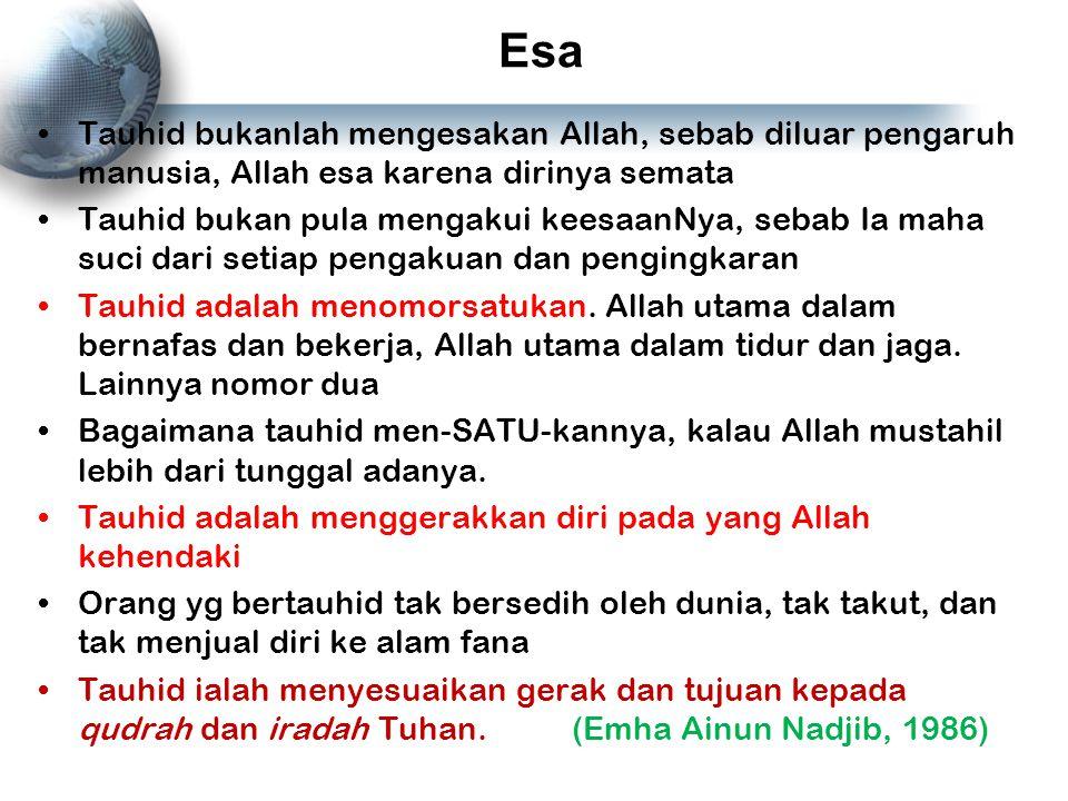 Esa Tauhid bukanlah mengesakan Allah, sebab diluar pengaruh manusia, Allah esa karena dirinya semata Tauhid bukan pula mengakui keesaanNya, sebab Ia m
