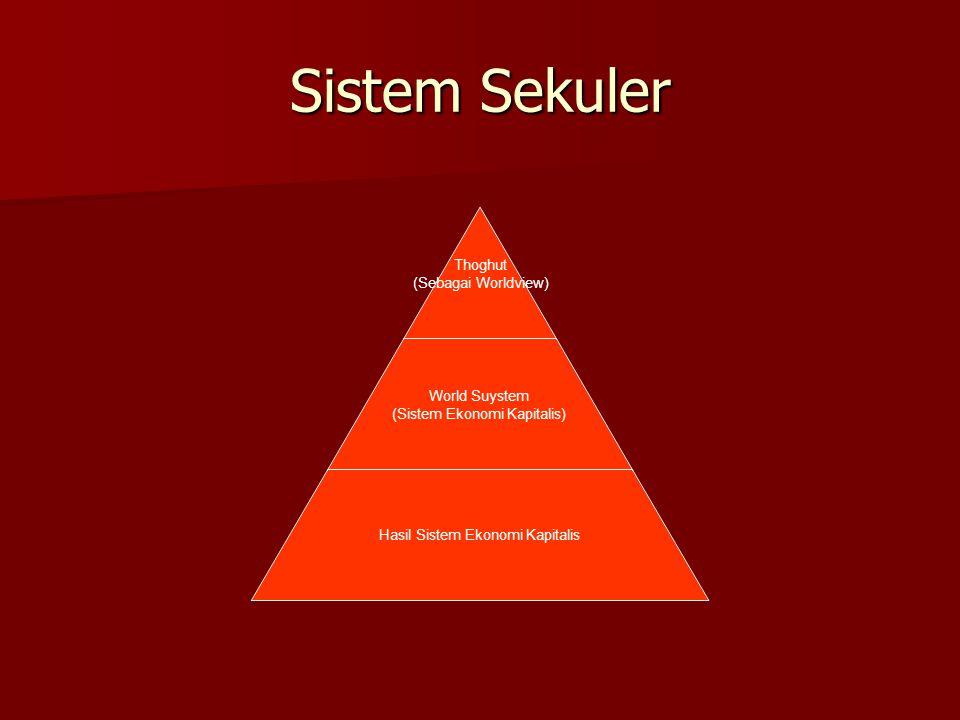 Sistem Sekuler Thoghut (Sebagai Worldview) World Suystem (Sistem Ekonomi Kapitalis) Hasil Sistem Ekonomi Kapitalis