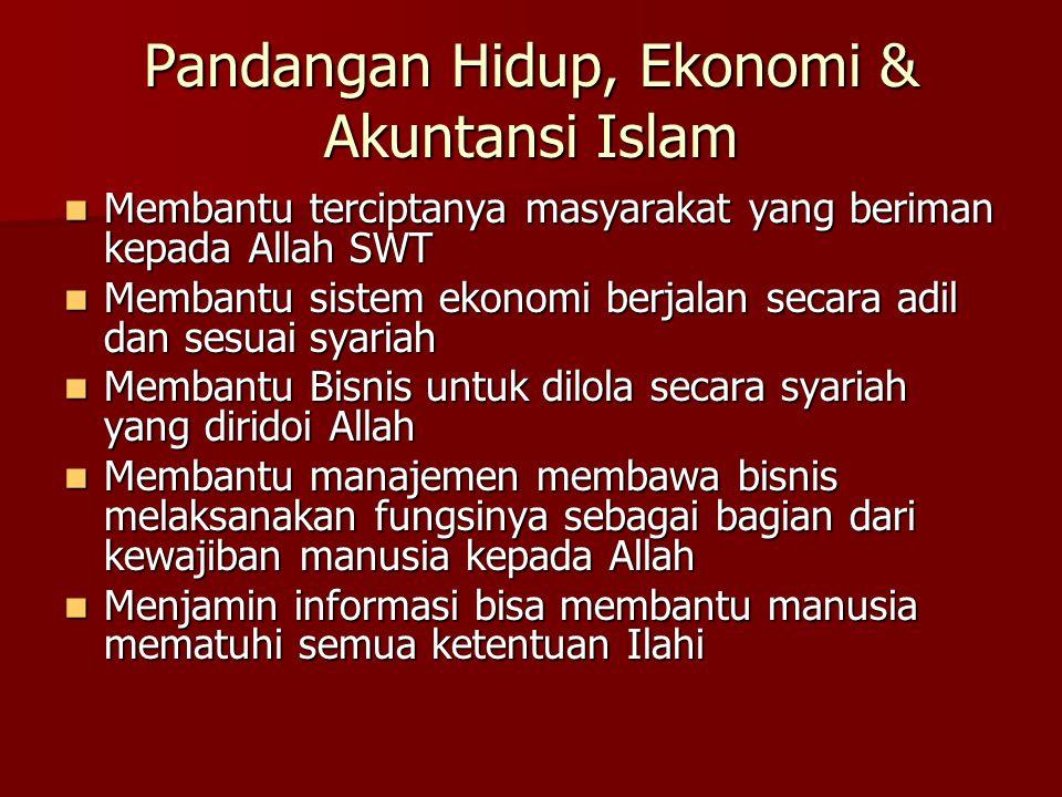 Pandangan Hidup, Ekonomi & Akuntansi Islam Membantu terciptanya masyarakat yang beriman kepada Allah SWT Membantu terciptanya masyarakat yang beriman