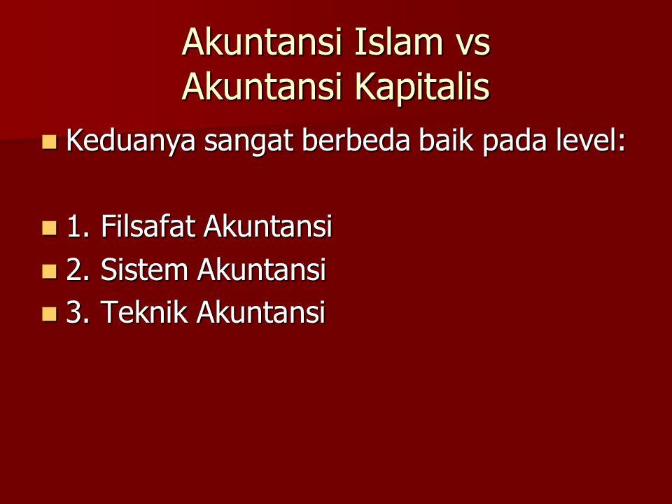 Akuntansi Islam vs Akuntansi Kapitalis Keduanya sangat berbeda baik pada level: Keduanya sangat berbeda baik pada level: 1. Filsafat Akuntansi 1. Fils