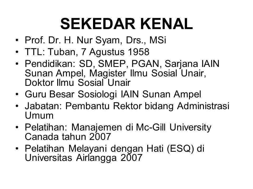 SEKEDAR KENAL Prof. Dr. H. Nur Syam, Drs., MSi TTL: Tuban, 7 Agustus 1958 Pendidikan: SD, SMEP, PGAN, Sarjana IAIN Sunan Ampel, Magister Ilmu Sosial U
