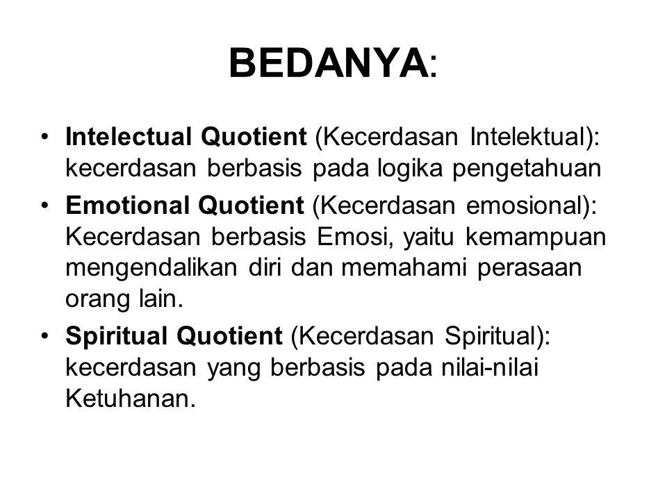 BEDANYA: Intelectual Quotient (Kecerdasan Intelektual): kecerdasan berbasis pada logika pengetahuan Emotional Quotient (Kecerdasan emosional): Kecerdasan berbasis Emosi, yaitu kemampuan mengendalikan diri dan memahami perasaan orang lain.