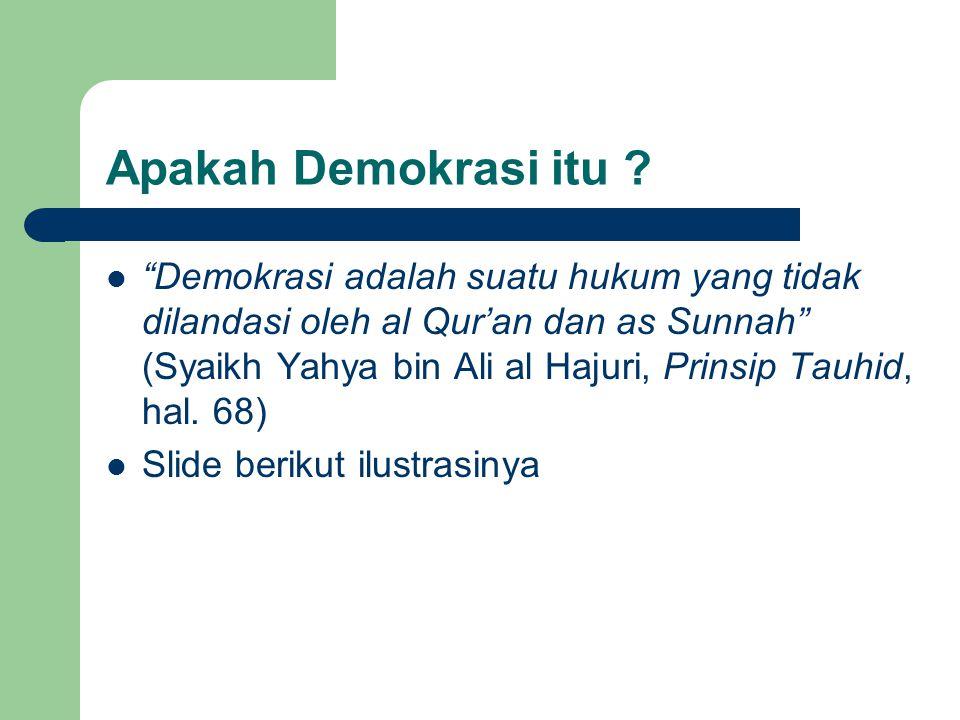 Demokrasi Suara Terbanyak Hukum/Undang -undang Allah Ta'aala Al Qur'an & as Sunnah Hukum/Undang -undang