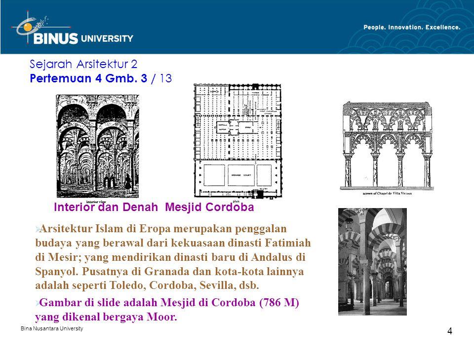 Bina Nusantara University 4 Interior dan Denah Mesjid Cordoba Sejarah Arsitektur 2 Pertemuan 4 Gmb. 3 / 13  Arsitektur Islam di Eropa merupakan pengg