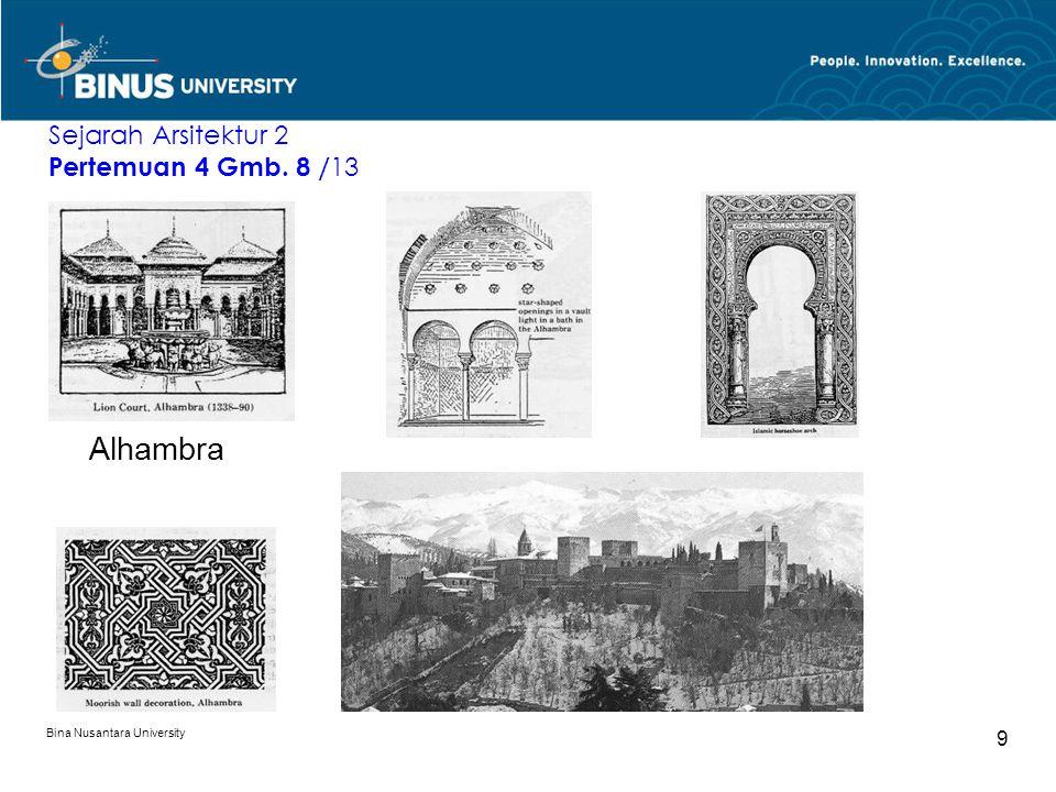 Bina Nusantara University 10 Dekorasi berpola geometrik pada dinding dan bagian atas jendela di Istana Alhambra, yang berhias pula denegan kaligrafi ayat2 suci, dan relung stalagtit.