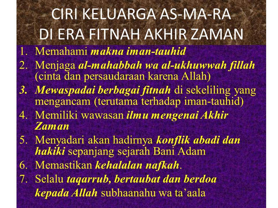 CIRI KELUARGA AS-MA-RA DI ERA FITNAH AKHIR ZAMAN 1.Memahami makna iman-tauhid 2.Menjaga al-mahabbah wa al-ukhuwwah fillah (cinta dan persaudaraan kare