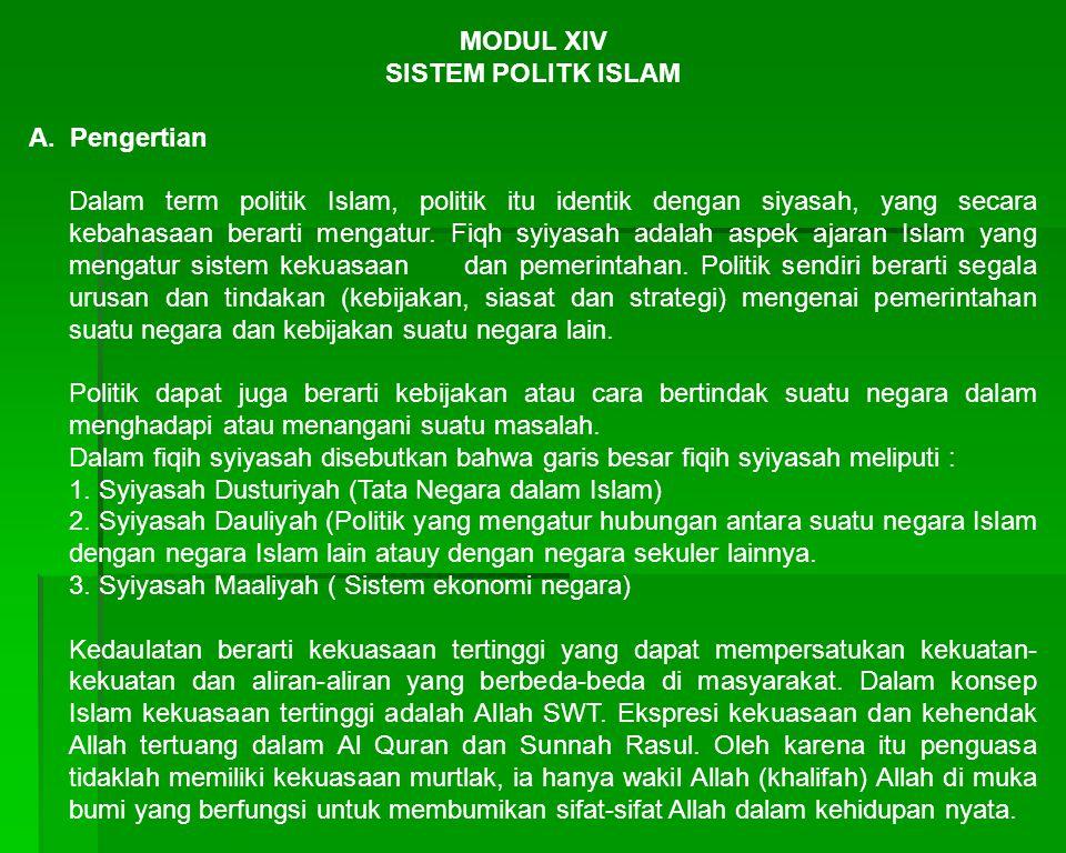 MODUL XIV SISTEM POLITK ISLAM A.