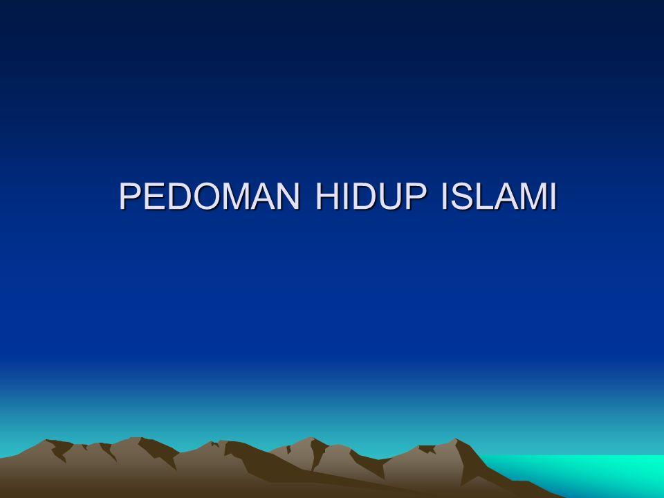 PANDANGAN ISLAM TERHADAP KEHIDUPAN  Dengan beragama Islam, setiap muslim 1.Mempunyai landasan hidup tauhid kepada Allah  ibadah 2.Menjalankan kekhalifahan dengan tujuan mencari ridho dan karunia Allah 3.Mengimani, memahami, menghayati, dan mengamalkan islam secara kaffah