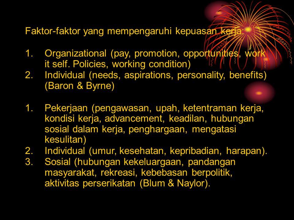 Faktor-faktor yang mempengaruhi kepuasan kerja: 1.Organizational (pay, promotion, opportunities, work it self. Policies, working condition) 2.Individu