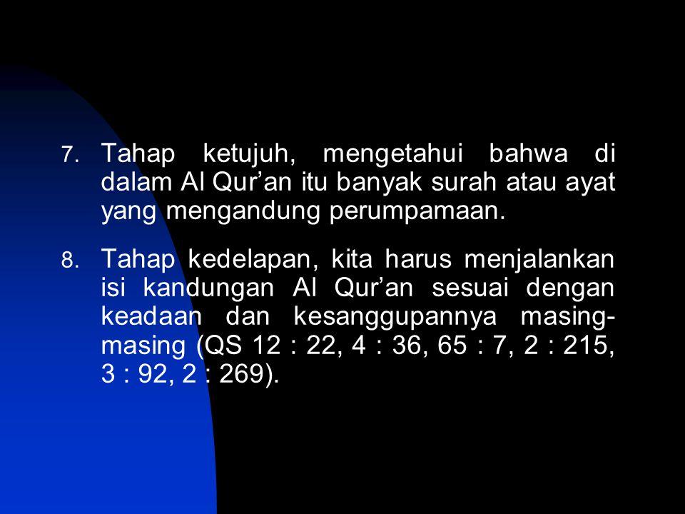 7. Tahap ketujuh, mengetahui bahwa di dalam Al Qur'an itu banyak surah atau ayat yang mengandung perumpamaan. 8. Tahap kedelapan, kita harus menjalank