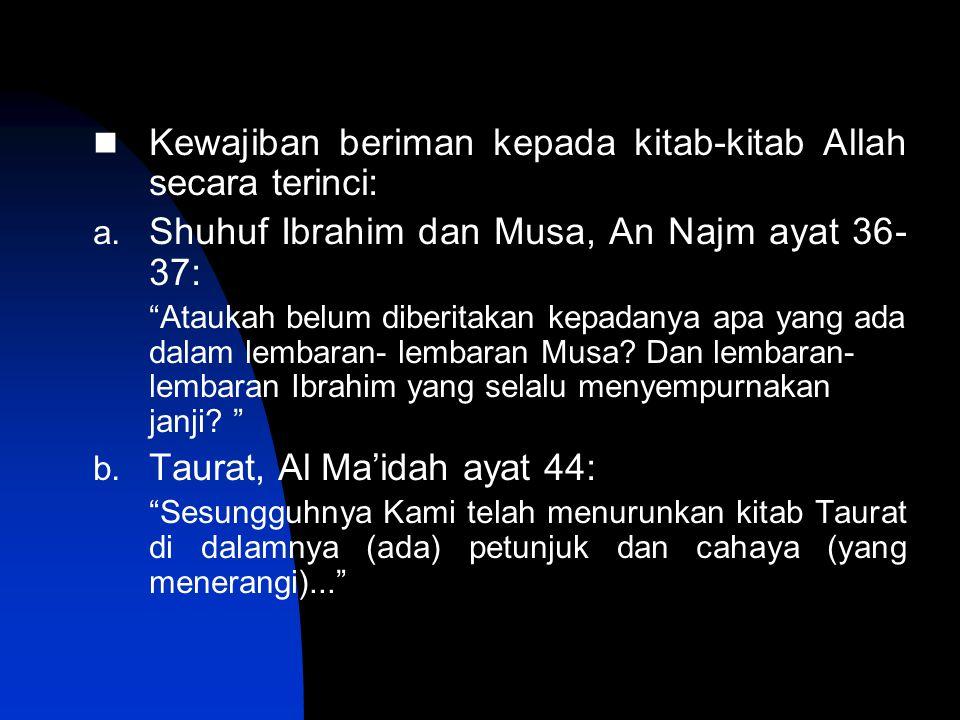 "Kewajiban beriman kepada kitab-kitab Allah secara terinci: a. Shuhuf Ibrahim dan Musa, An Najm ayat 36- 37: ""Ataukah belum diberitakan kepadanya apa y"