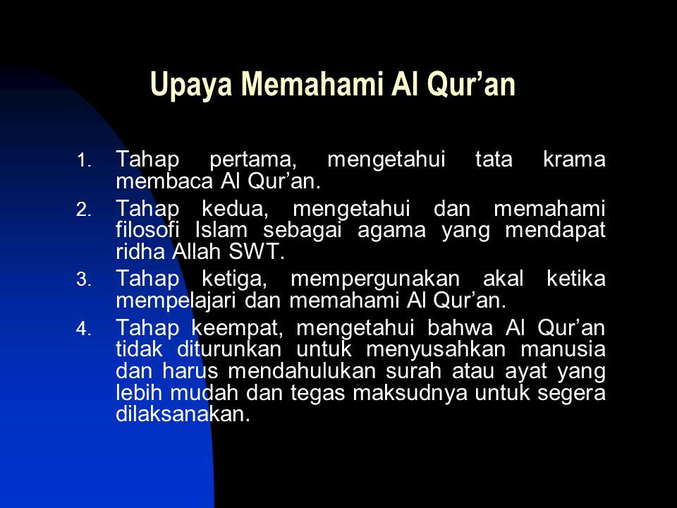 Upaya Memahami Al Qur'an 1. Tahap pertama, mengetahui tata krama membaca Al Qur'an. 2. Tahap kedua, mengetahui dan memahami filosofi Islam sebagai aga