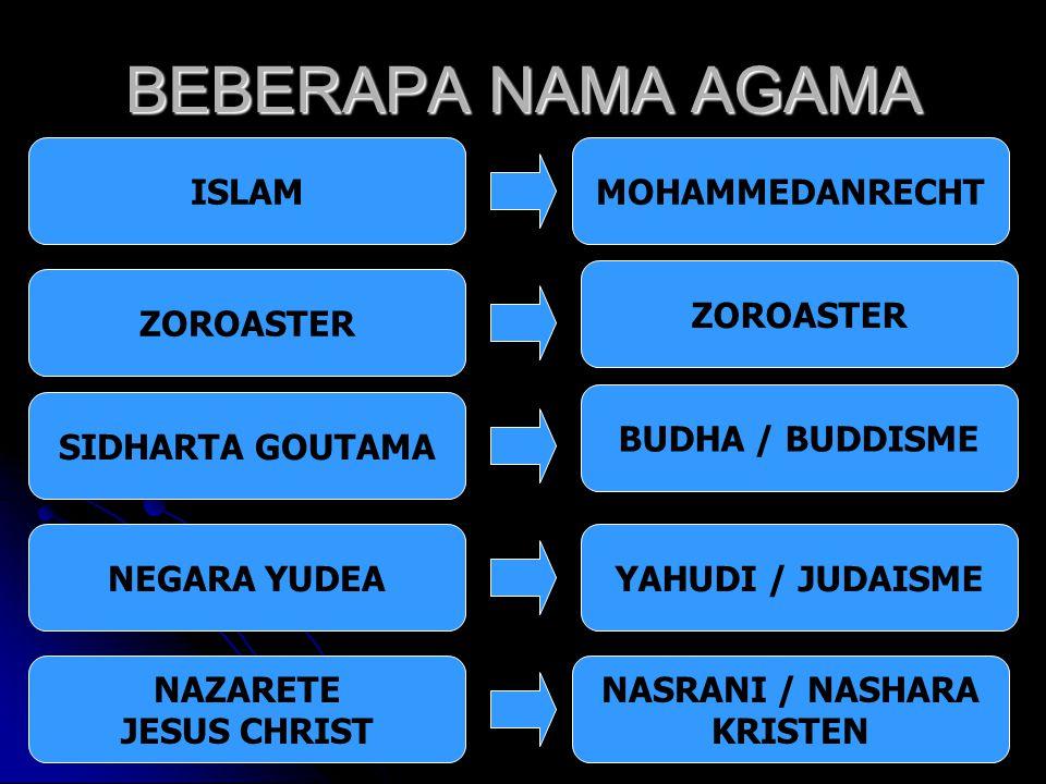 BEBERAPA NAMA AGAMA ISLAM ZOROASTER SIDHARTA GOUTAMA NEGARA YUDEA NAZARETE JESUS CHRIST NASRANI / NASHARA KRISTEN YAHUDI / JUDAISME BUDHA / BUDDISME Z