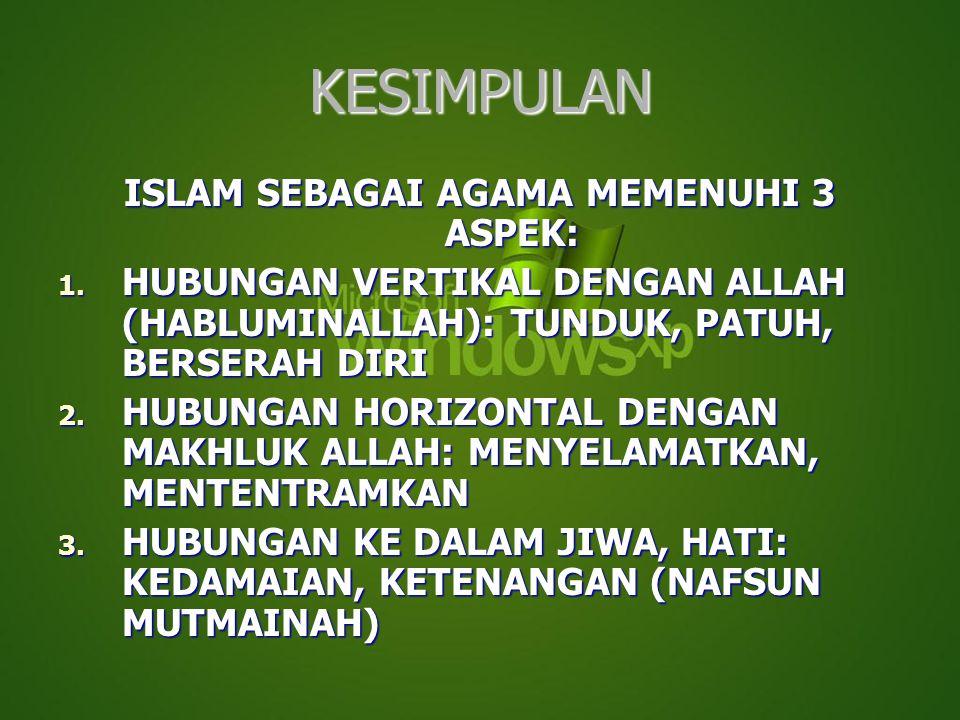 KESIMPULAN ISLAM SEBAGAI AGAMA MEMENUHI 3 ASPEK: 1. HUBUNGAN VERTIKAL DENGAN ALLAH (HABLUMINALLAH): TUNDUK, PATUH, BERSERAH DIRI 2. HUBUNGAN HORIZONTA