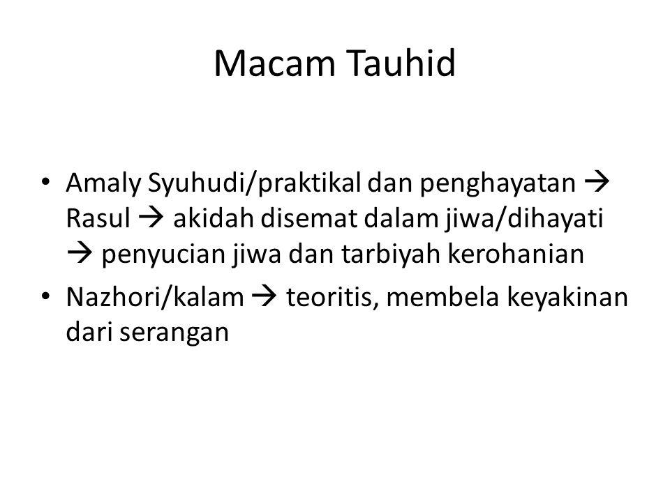 Macam Tauhid Amaly Syuhudi/praktikal dan penghayatan  Rasul  akidah disemat dalam jiwa/dihayati  penyucian jiwa dan tarbiyah kerohanian Nazhori/kal