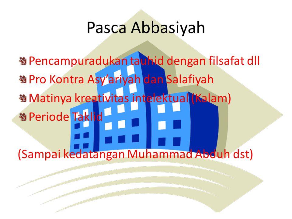 Pasca Abbasiyah Pencampuradukan tauhid dengan filsafat dll Pro Kontra Asy'ariyah dan Salafiyah Matinya kreativitas intelektual (Kalam) Periode Taklid