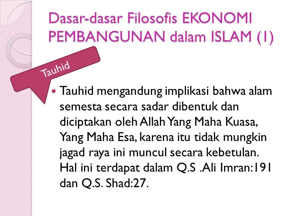Dasar-dasar Filosofis EKONOMI PEMBANGUNAN dalam ISLAM (1) Tauhid mengandung implikasi bahwa alam semesta secara sadar dibentuk dan diciptakan oleh All
