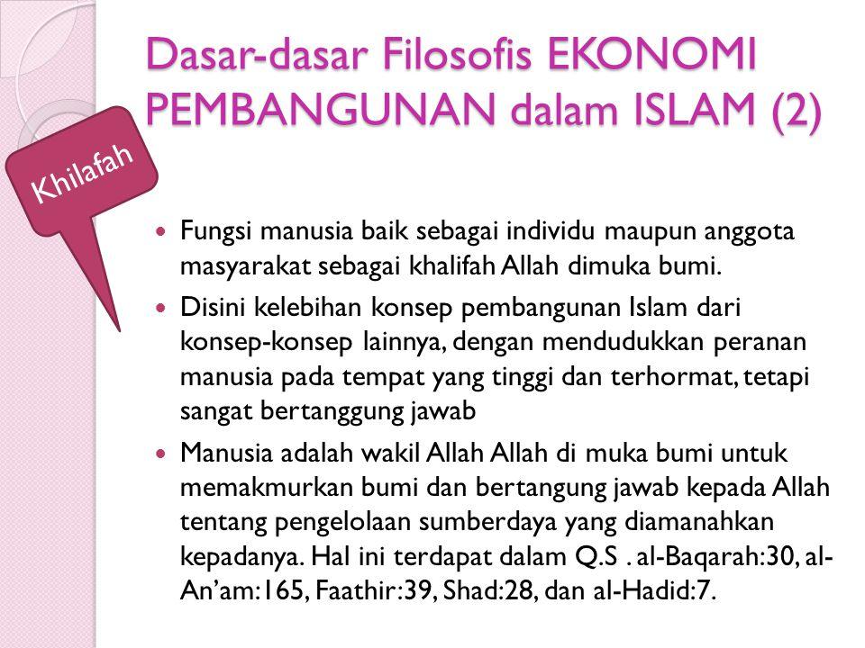 Dasar-dasar Filosofis EKONOMI PEMBANGUNAN dalam ISLAM (2) Fungsi manusia baik sebagai individu maupun anggota masyarakat sebagai khalifah Allah dimuka bumi.