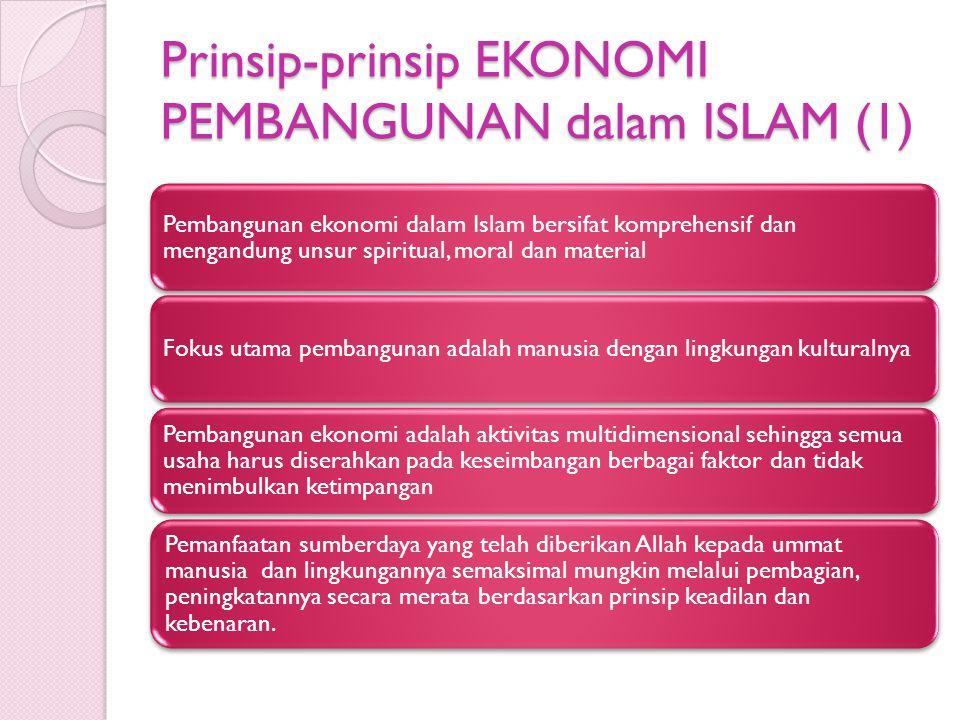 Prinsip-prinsip EKONOMI PEMBANGUNAN dalam ISLAM (1) Pembangunan ekonomi dalam Islam bersifat komprehensif dan mengandung unsur spiritual, moral dan ma