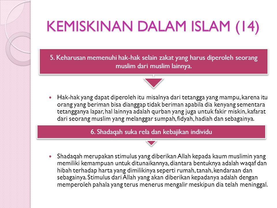 KEMISKINAN DALAM ISLAM (14) Hak-hak yang dapat diperoleh itu misalnya dari tetangga yang mampu, karena itu orang yang beriman bisa dianggap tidak beriman apabila dia kenyang sementara tetangganya lapar, hal lainnya adalah qurban yang juga untuk fakir miskin, kafarat dari seorang muslim yang melanggar sumpah, fidyah, hadiah dan sebagainya.