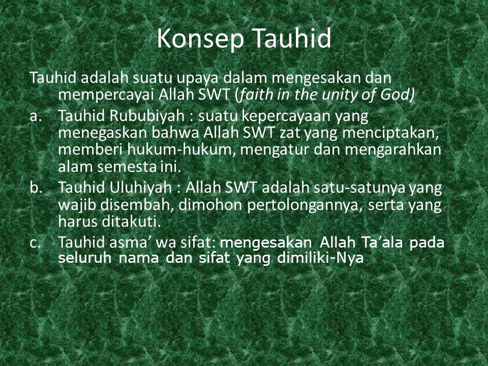 Tauhid adalah ajaran yang disampaikan oleh para nabi dan rasul Surat Al Anbiya' 25 : dan kami tidak mengutus seorang rasul sebelum engkau (muhammad) melainkan kami wahyukan kepadanya bahwa sesungguhnya tidak ada Tuhan selain aku, karena itu sembahlah aku