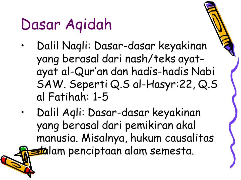 Dasar Aqidah Dalil Naqli: Dasar-dasar keyakinan yang berasal dari nash/teks ayat- ayat al-Qur'an dan hadis-hadis Nabi SAW. Seperti Q.S al-Hasyr:22, Q.