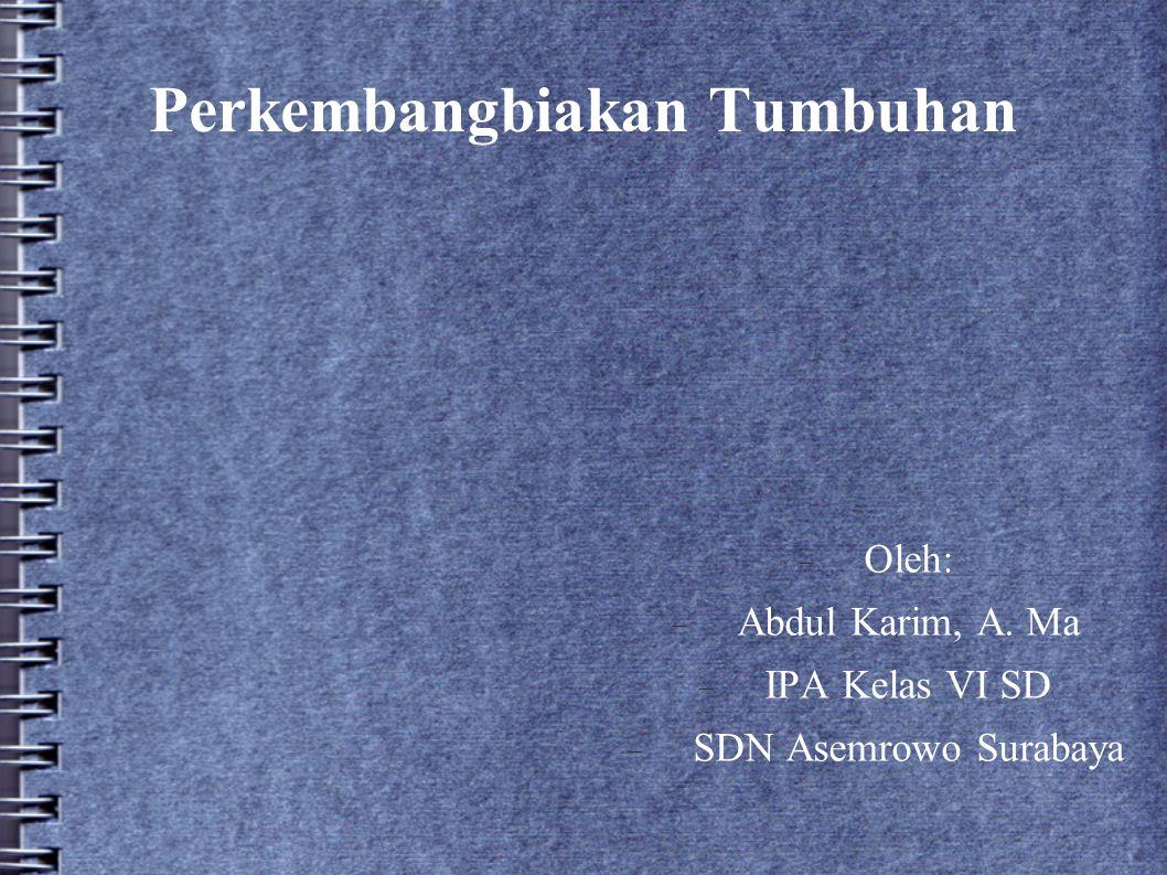 Perkembangbiakan Tumbuhan  Oleh:  Abdul Karim, A. Ma  IPA Kelas VI SD  SDN Asemrowo Surabaya