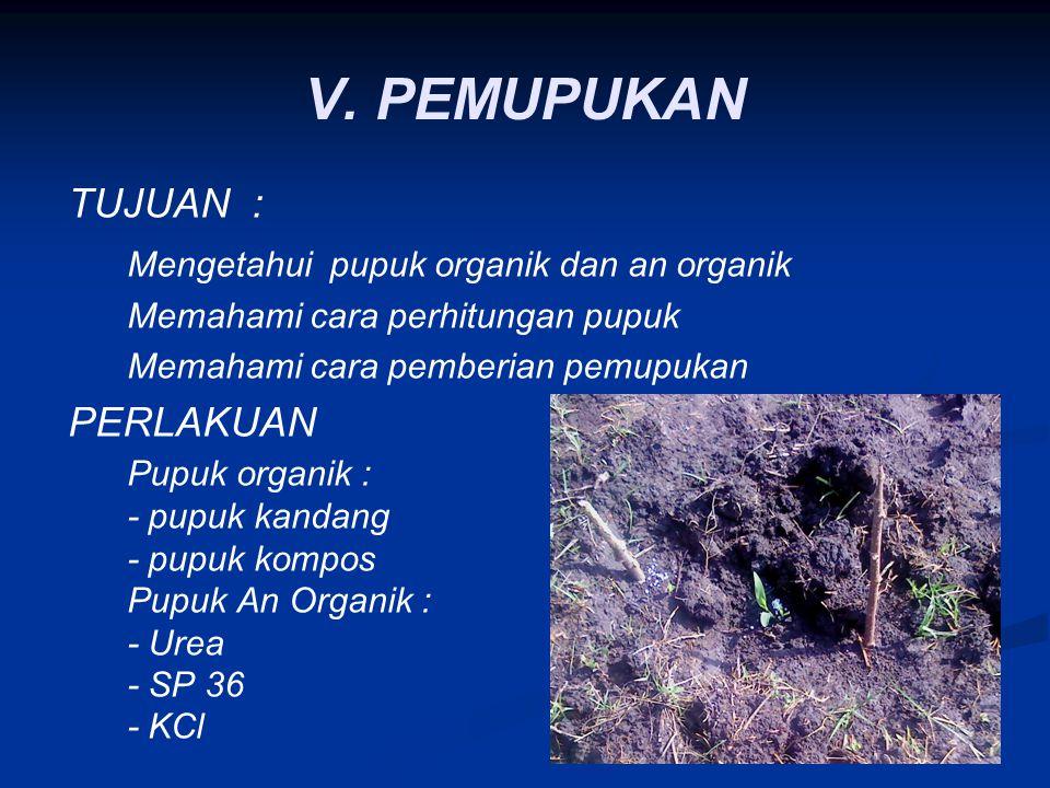 V. PEMUPUKAN TUJUAN : Mengetahui pupuk organik dan an organik Memahami cara perhitungan pupuk Memahami cara pemberian pemupukan PERLAKUAN Pupuk organi