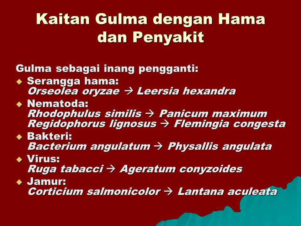 Kaitan Gulma dengan Hama dan Penyakit Gulma sebagai inang pengganti:  Serangga hama: Orseolea oryzae  Leersia hexandra  Nematoda: Rhodophulus simil