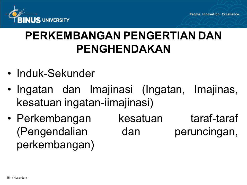 Bina Nusantara PERKEMBANGAN PENGERTIAN DAN PENGHENDAKAN Induk-Sekunder Ingatan dan Imajinasi (Ingatan, Imajinas, kesatuan ingatan-iimajinasi) Perkemba