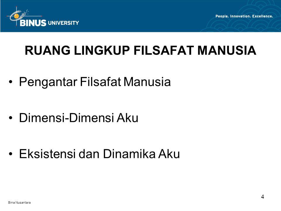 Bina Nusantara Pengantar Filsafat Manusia Dimensi-Dimensi Aku Eksistensi dan Dinamika Aku RUANG LINGKUP FILSAFAT MANUSIA 4