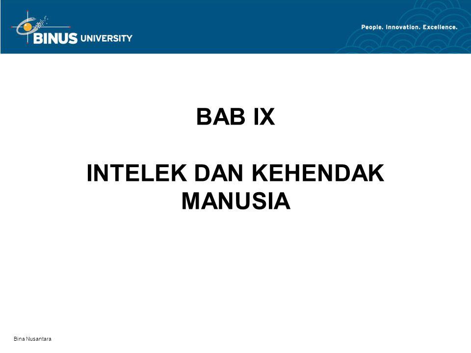 Bina Nusantara BAB IX INTELEK DAN KEHENDAK MANUSIA
