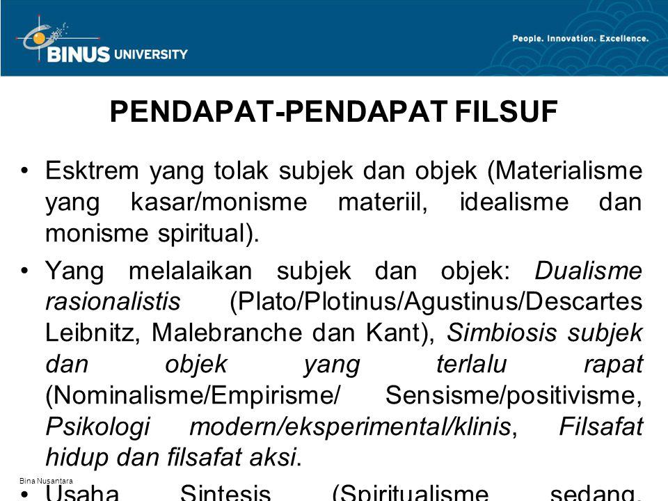 Bina Nusantara PENDAPAT-PENDAPAT FILSUF Esktrem yang tolak subjek dan objek (Materialisme yang kasar/monisme materiil, idealisme dan monisme spiritual