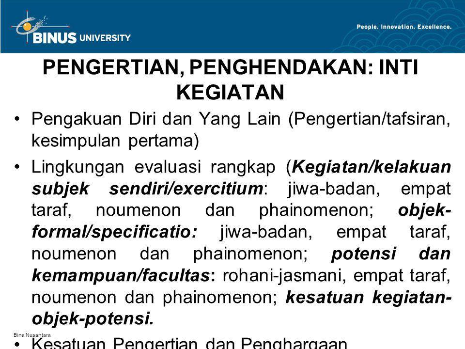 Bina Nusantara PENGERTIAN, PENGHENDAKAN: INTI KEGIATAN Pengakuan Diri dan Yang Lain (Pengertian/tafsiran, kesimpulan pertama) Lingkungan evaluasi rang