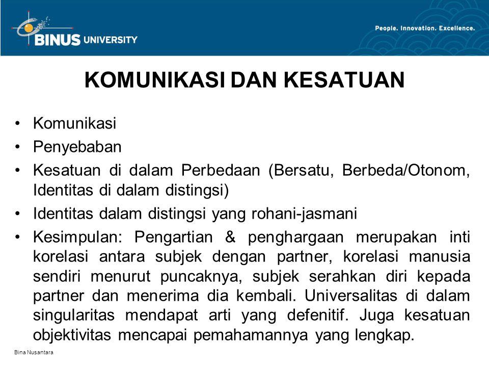 Bina Nusantara KOMUNIKASI DAN KESATUAN Komunikasi Penyebaban Kesatuan di dalam Perbedaan (Bersatu, Berbeda/Otonom, Identitas di dalam distingsi) Ident