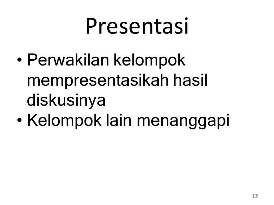 Presentasi Perwakilan kelompok mempresentasikah hasil diskusinya Kelompok lain menanggapi 13
