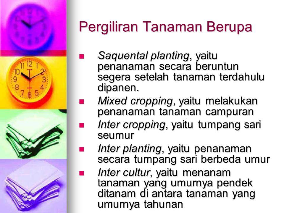 Pergiliran Tanaman Berupa Saquental planting, yaitu penanaman secara beruntun segera setelah tanaman terdahulu dipanen.