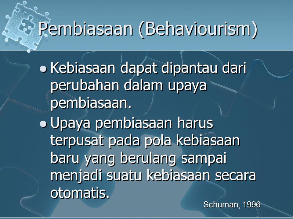 Pembiasaan (Behaviourism) Kebiasaan dapat dipantau dari perubahan dalam upaya pembiasaan. Upaya pembiasaan harus terpusat pada pola kebiasaan baru yan
