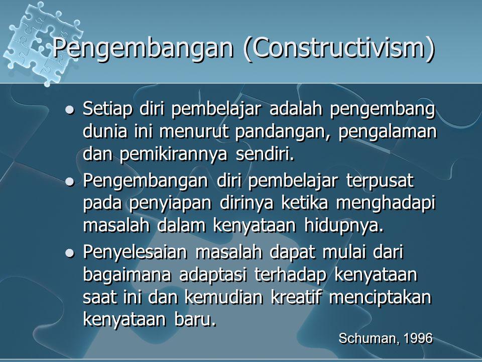 Pengembangan (Constructivism) Setiap diri pembelajar adalah pengembang dunia ini menurut pandangan, pengalaman dan pemikirannya sendiri. Pengembangan