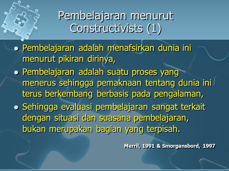 Pembelajaran menurut Constructivists (1) Pembelajaran adalah menafsirkan dunia ini menurut pikiran dirinya, Pembelajaran adalah suatu proses yang mene