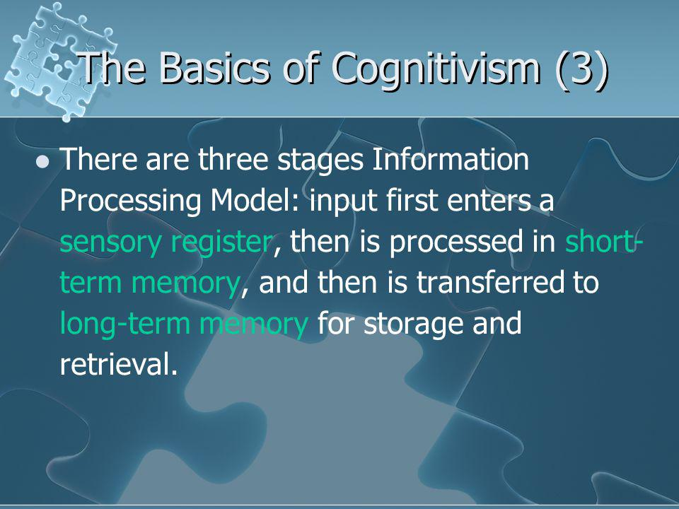The Basics of Cognitivism (3) There are three stages Information Processing Model: input first enters a sensory register, then is processed in short- term memory, and then is transferred to long-term memory for storage and retrieval.