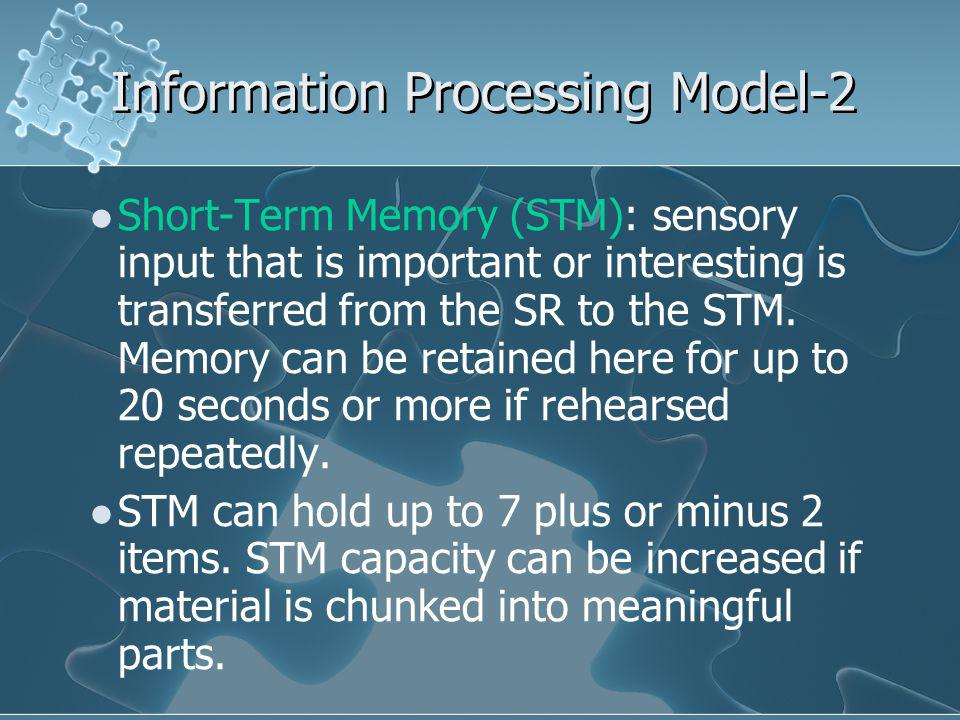 Short-Term Memory (STM): sensory input that is important or interesting is transferred from the SR to the STM.
