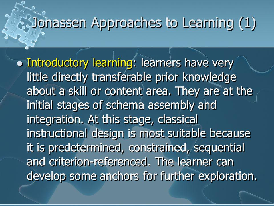 Jonassen Approaches to Learning (1) Introductory learning: learners have very little directly transferable prior knowledge about a skill or content area.